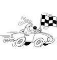 Cartoon dog in a car waving a check vector image
