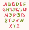 Hand drawn cartoon font with decorative elements vector image