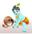 happy krishna janmashtami blue boy god broke pot vector image