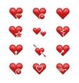 Heart love emoji emoticons set vector image