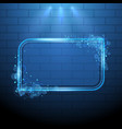 shining blue neon light frame design element vector image