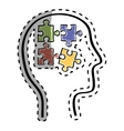 Human head with puzzles inside vector image