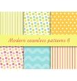Polka dot strips wave seamless pattern set vector image