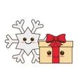 happy merry christmas gifts kawaii style vector image