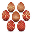 set of cute easter eggs with golden ornaments vector image