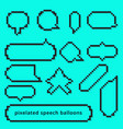 set pixel art style gameing speech bubble seamless vector image