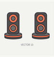 line flat color computer part icon audio vector image