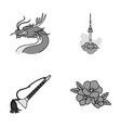 dragon with mustache seoul tower national vector image