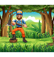 A woodman stepping at a stump in the forest vector image vector image