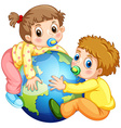 Toddlers boy and girl hugging the earth vector image