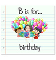 Flashcard letter B is for birthday vector image