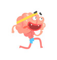 athletic humanized cartoon brain character running vector image