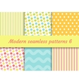 Polka dot strips wave seamless pattern set vector image