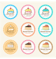 Set pf sweet bakery badge label and logo vector image