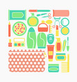 set of cosmetics makeup and vector image