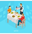 Waiter Serving Customers Isometric Poster vector image
