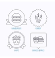 Hamburger carrot and chips icons vector image