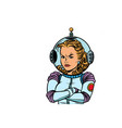 angry woman astronaut isolated on white background vector image
