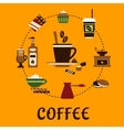 Coffee drinks and desserts flat icons vector image