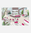 colorful freehand drawing of restaurant or bistro vector image