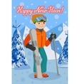 Congratulation card new year with man on the vector image