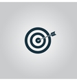 Dart is in the center of dartboard vector image