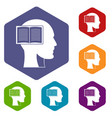 head with open book icons set hexagon vector image
