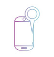 line smartphone technology with magnifying glass vector image