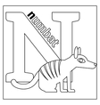 Numbat letter N coloring page vector image