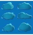 Set of glass icons clouds vector image