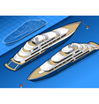 isometric yacht in two positions vector image