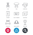 Corner sofa table and cupboard icons vector image