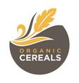 organic cereals emblem ear of wheat ecology symbol vector image