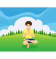 A handsome young boy doing yoga in the hill vector image