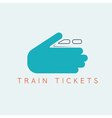 train tickets design template with hands vector image