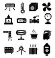 heating icons set vector image