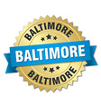 Baltimore round golden badge with blue ribbon vector image