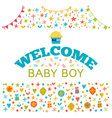 Welcome baby boy Baby boy shower card Baby shower vector image
