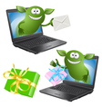 funny green monsters crawl out of the PC chassis vector image
