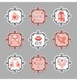 Pink Valentines Day emblem and design elements set vector image