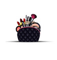 set of cosmetics with black bag on isolated vector image