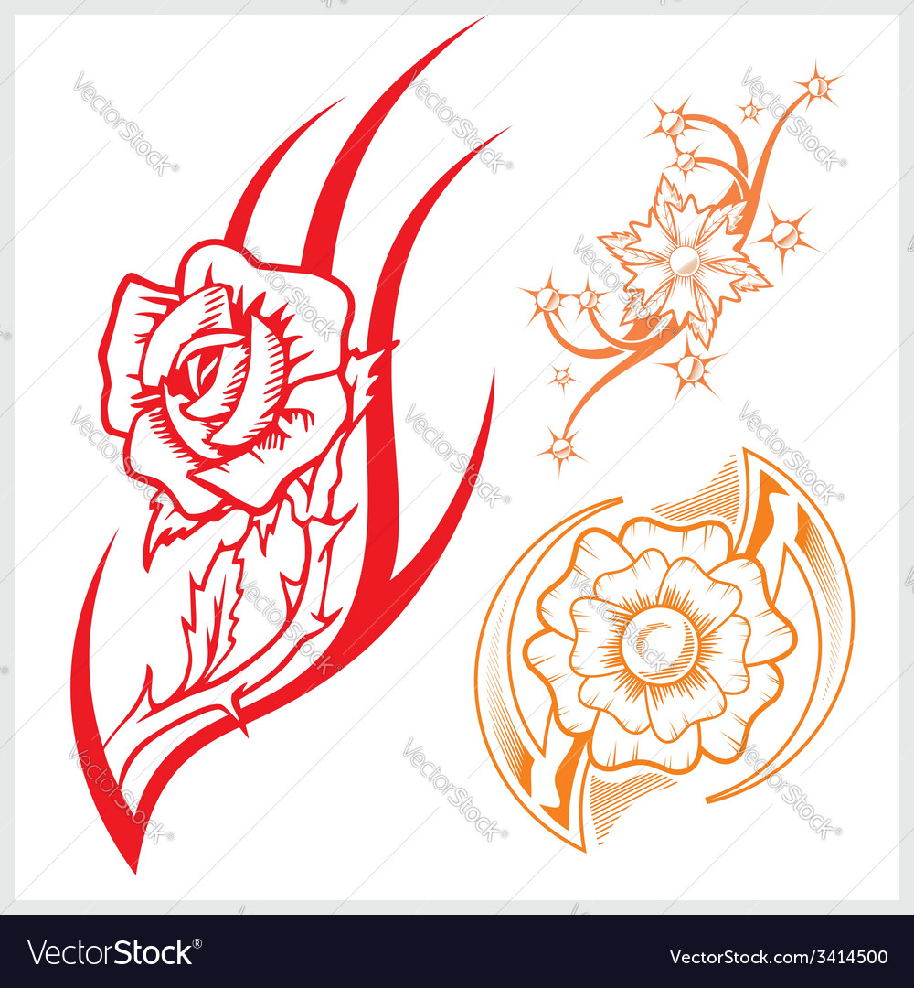Flower design for tattoo vector