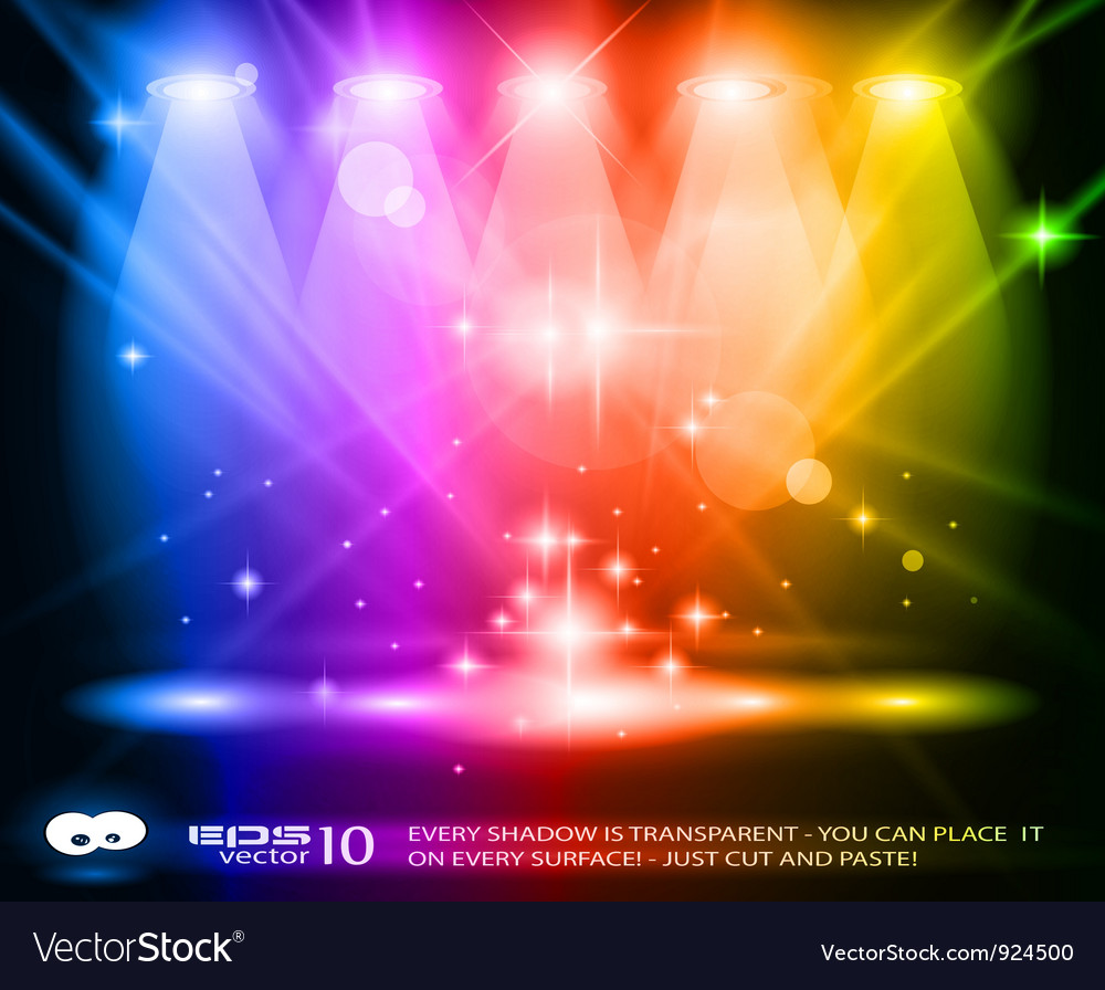Spotlights on stage vector
