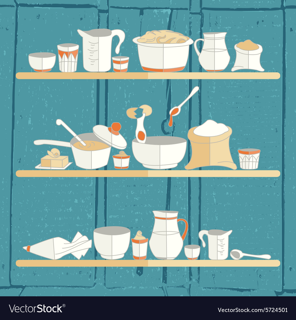 Kitchen utensils on a texturized backgrou vector