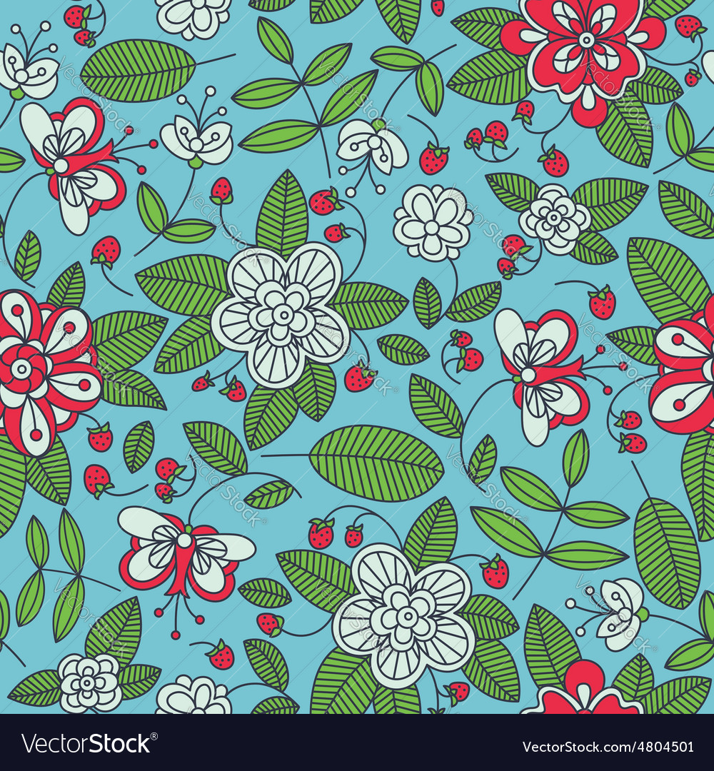 Strawberry floral seamless pattern background vector