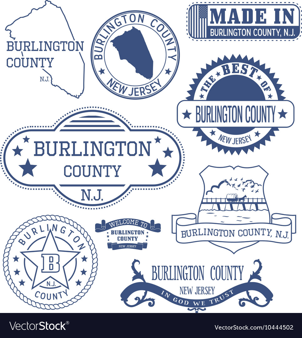 Burlington county new jersey stamps and seals vector