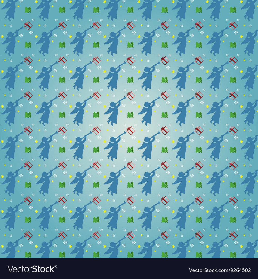 Christmas seamless pattern with angels snowflake vector