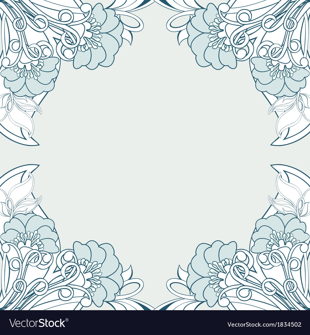 Frame with abstract poppies vector
