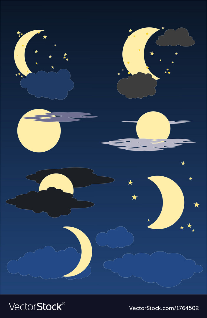 Moon stars and clouds vector