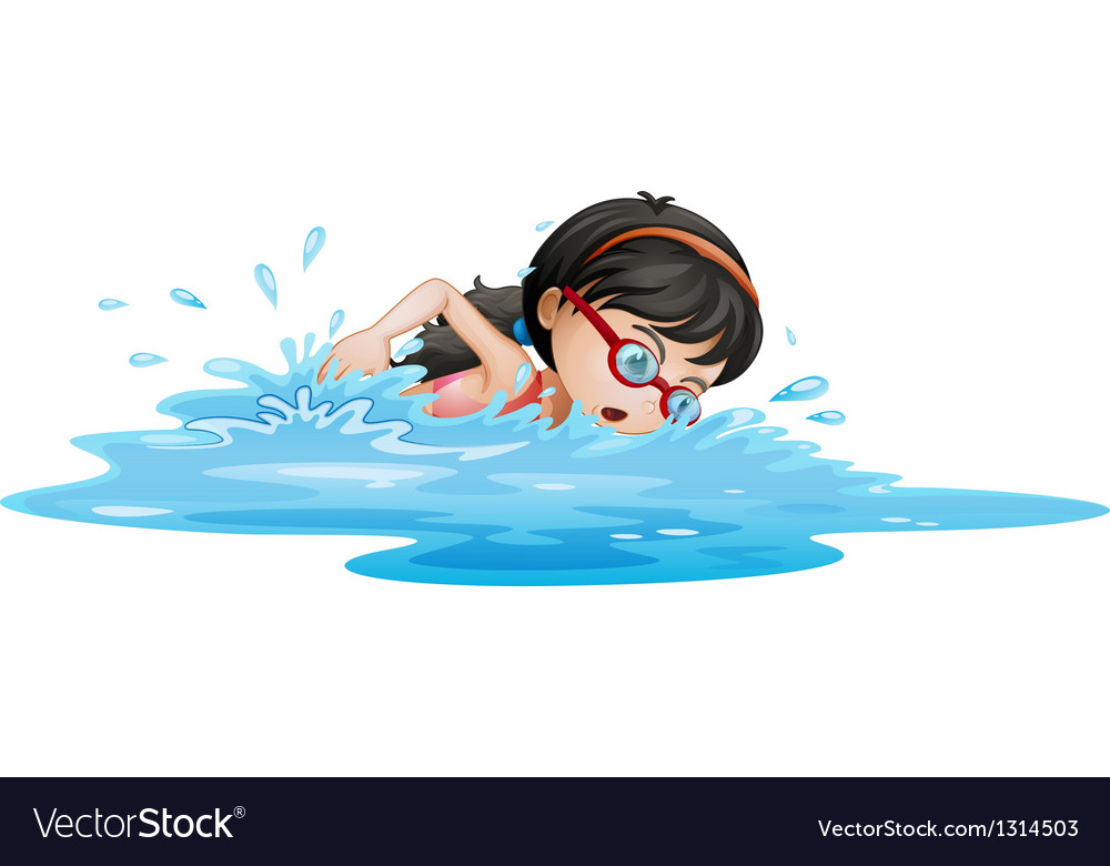 A girl swimming with goggles vector
